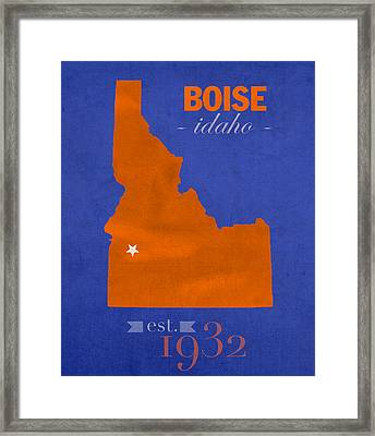 Boise State University Broncos Boise Idaho College Town State Map Poster Series No 019 Framed Print by Design Turnpike