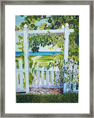Bokeelia Behind The White Picket Fence Framed Print
