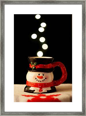 Framed Print featuring the photograph Bokeh Fun With Snowman Mug by Barbara West