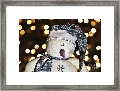 Bokeh Snowman Framed Print