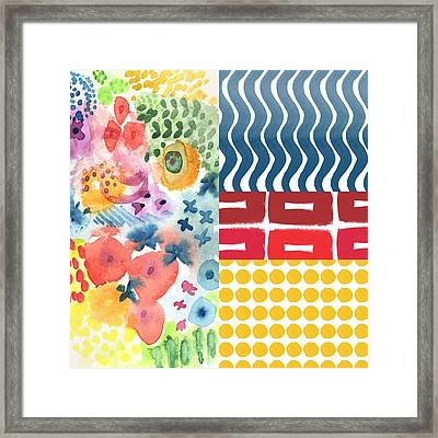 Bold Boho Patchwork- Abstract Art Framed Print by Linda Woods