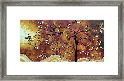 Bold Neutral Tones Abstract Landscape Art Oversized Original Painting The Wishing Tree By Madart Framed Print by Megan Duncanson