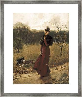 Boldini, Giovanni 1842-1931. Walk Framed Print