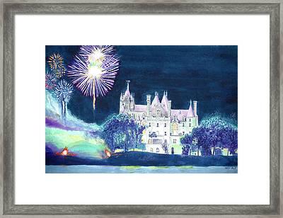 Boldt Castle Fireworks Framed Print by Robert P Hedden