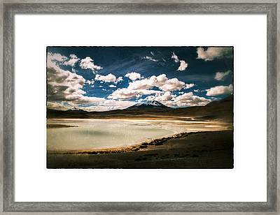 Bolivia Lagoon Clouds Vintage Framed Print by For Ninety One Days