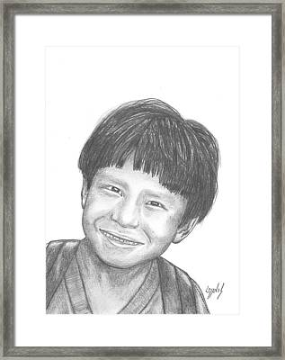 Framed Print featuring the drawing Bolivian Jungle Child by Lew Davis