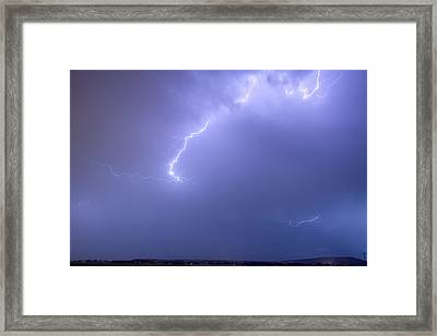 Bolts Of Lightning Arcing Through The Night Sky Framed Print by James BO  Insogna