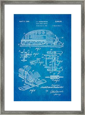 Bombardier Chain Tread Vehicle Patent Art 1944 Blueprint Framed Print by Ian Monk