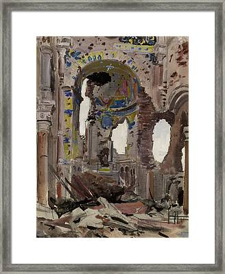 Bombed Out Interior Of Albert Church Framed Print by Ernest Proctor