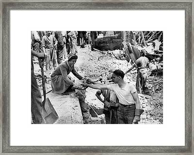 Bombing Raid In England Framed Print by Underwood Archives