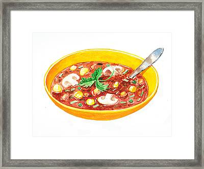 Bon Appetit A Bowl Of Soup Framed Print