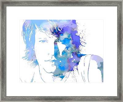 Bon Jovi Paint Splatter Portrait Framed Print by Dan Sproul