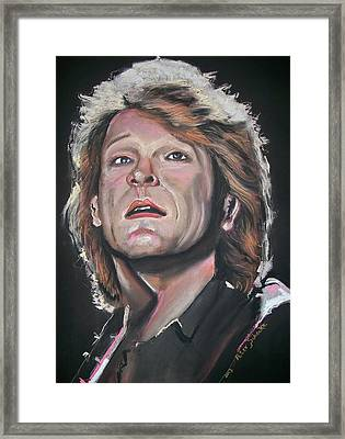 Framed Print featuring the pastel Bon Jovi by Peter Suhocke