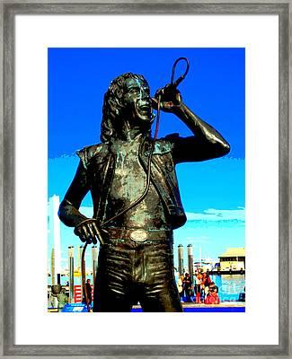 Bon Scott Ac Dc Statue In Fremantle Framed Print by Roberto Gagliardi