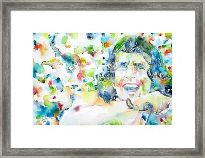 Bon Scott - Watercolor Portrait Framed Print by Fabrizio Cassetta