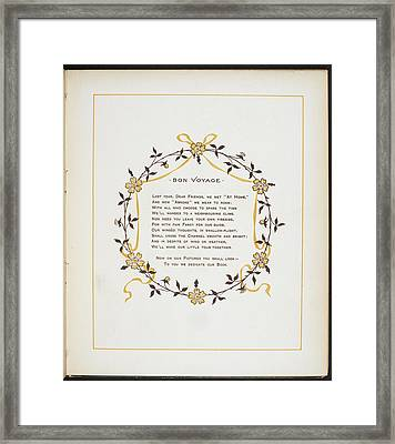 Bon Voyage. A Verse And Dedication Framed Print by British Library