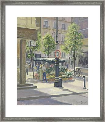 Bond Street Flowerstall Oil On Canvas Framed Print by Julian Barrow