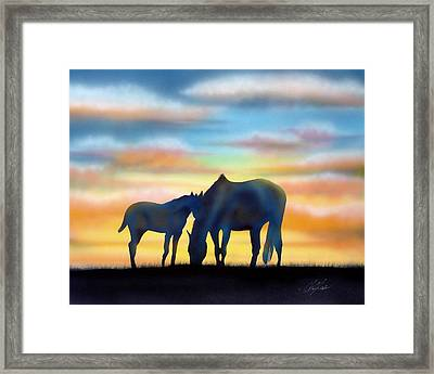 Framed Print featuring the painting Bonding At Dusk - 1 by Chris Fraser