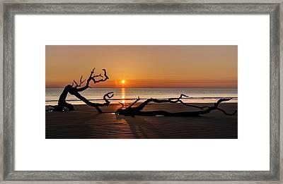 Bones Beach Sunrise Framed Print by Debra and Dave Vanderlaan