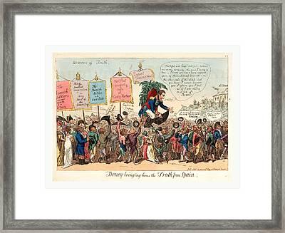Boney Bringing Home The Truth From Spain, London, 1808 Framed Print