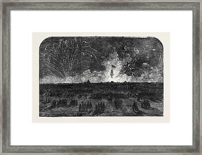 Bonfire And Fireworks On Blackheath Framed Print
