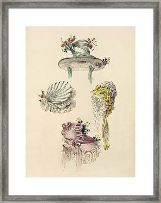Bonnets For An Occasion, Fashion Plate Framed Print