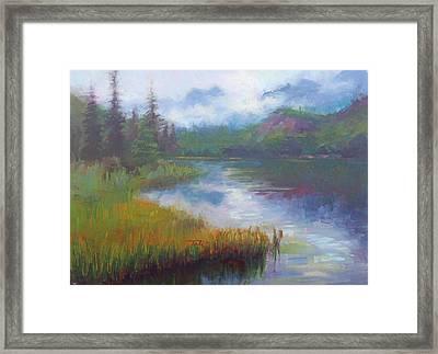 Framed Print featuring the painting Bonnie Lake - Alaska Misty Landscape by Talya Johnson