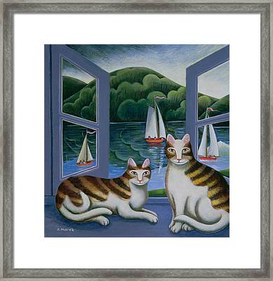 Bonny And Clyde Oil On Board Framed Print by Jerzy Marek