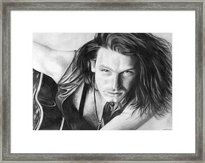 Framed Print featuring the drawing Bono by Janice Dunbar