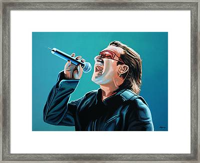 Bono Of U2 Painting Framed Print by Paul Meijering