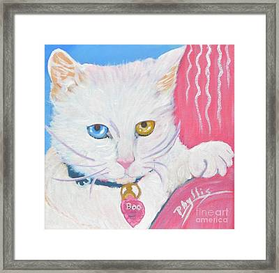 Framed Print featuring the painting Boo Kitty by Phyllis Kaltenbach