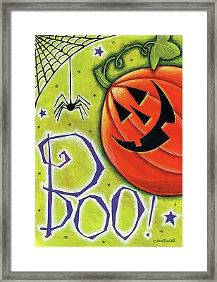 Boo Pumpkin And Spider Framed Print by Anne Tavoletti