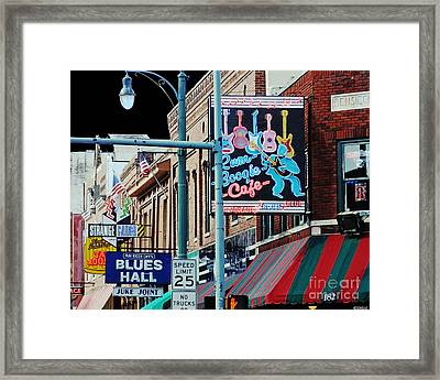 Boogie On Beale St Memphis Tn Framed Print by Lizi Beard-Ward
