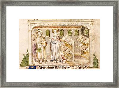 Book Allegory, 15th-century Manuscript Framed Print by British Library