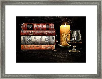 Books And Brandy Framed Print by Jacque The Muse Photography