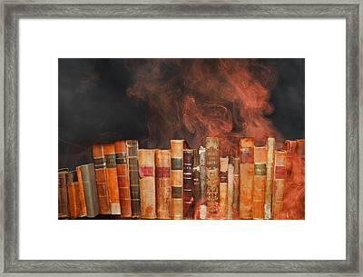 Book Burning Inspired By Fahrenheit 451 Framed Print by John Haldane
