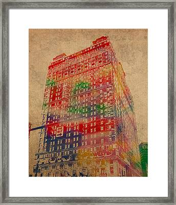 Book Cadillac Iconic Buildings Of Detroit Watercolor On Worn Canvas Series Number 3 Framed Print