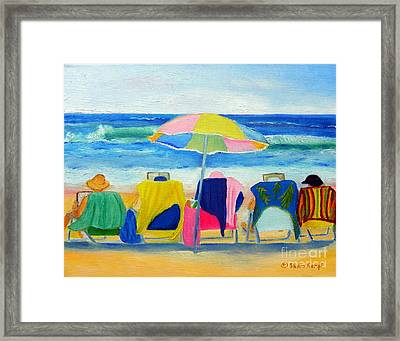 Book Club On The Beach Framed Print