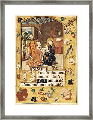 Book Of Hours. 15th C. Epiphany Scene Framed Print by Everett