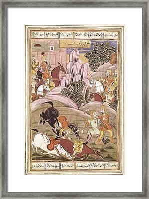 Book Of Kings. 16th C. Book Of Firdawsi Framed Print by Everett
