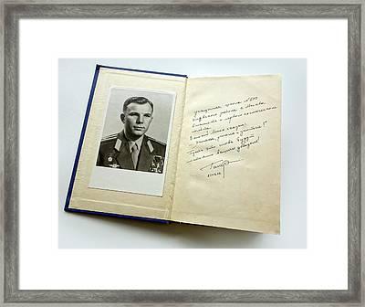 Book Signed By Yuri Gagarin Framed Print by Detlev Van Ravenswaay