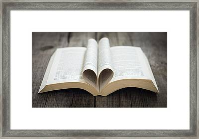 Book With Heart Framed Print by Aged Pixel