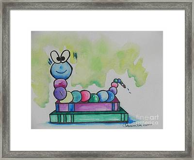 Book Worm Helps Children Read Framed Print by Chrisann Ellis