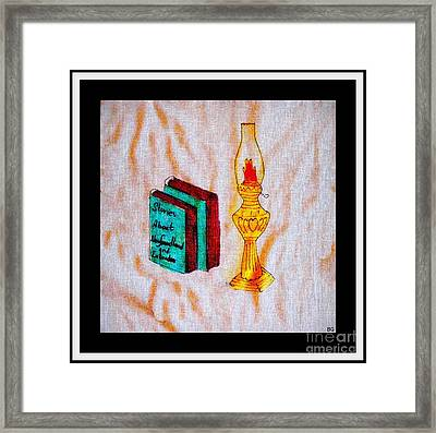Books And A Kerosene Lamp Framed Print by Barbara Griffin