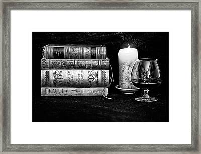 Books And Brandy Black And White Framed Print by Jacque The Muse Photography