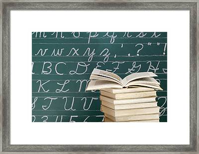 Books And Chalkboard Framed Print