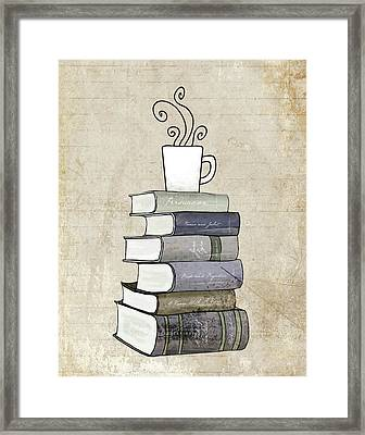 Books And Coffee Print Framed Print by Amy Cummings