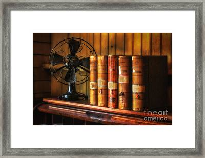 Books And Fan Framed Print by Jerry Fornarotto