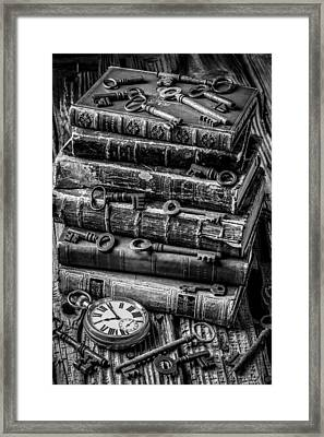 Books And Keys Black And White Framed Print by Garry Gay