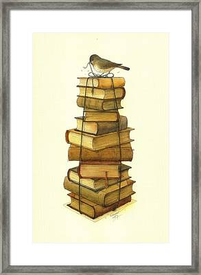 Books And Little Bird Framed Print by Kestutis Kasparavicius